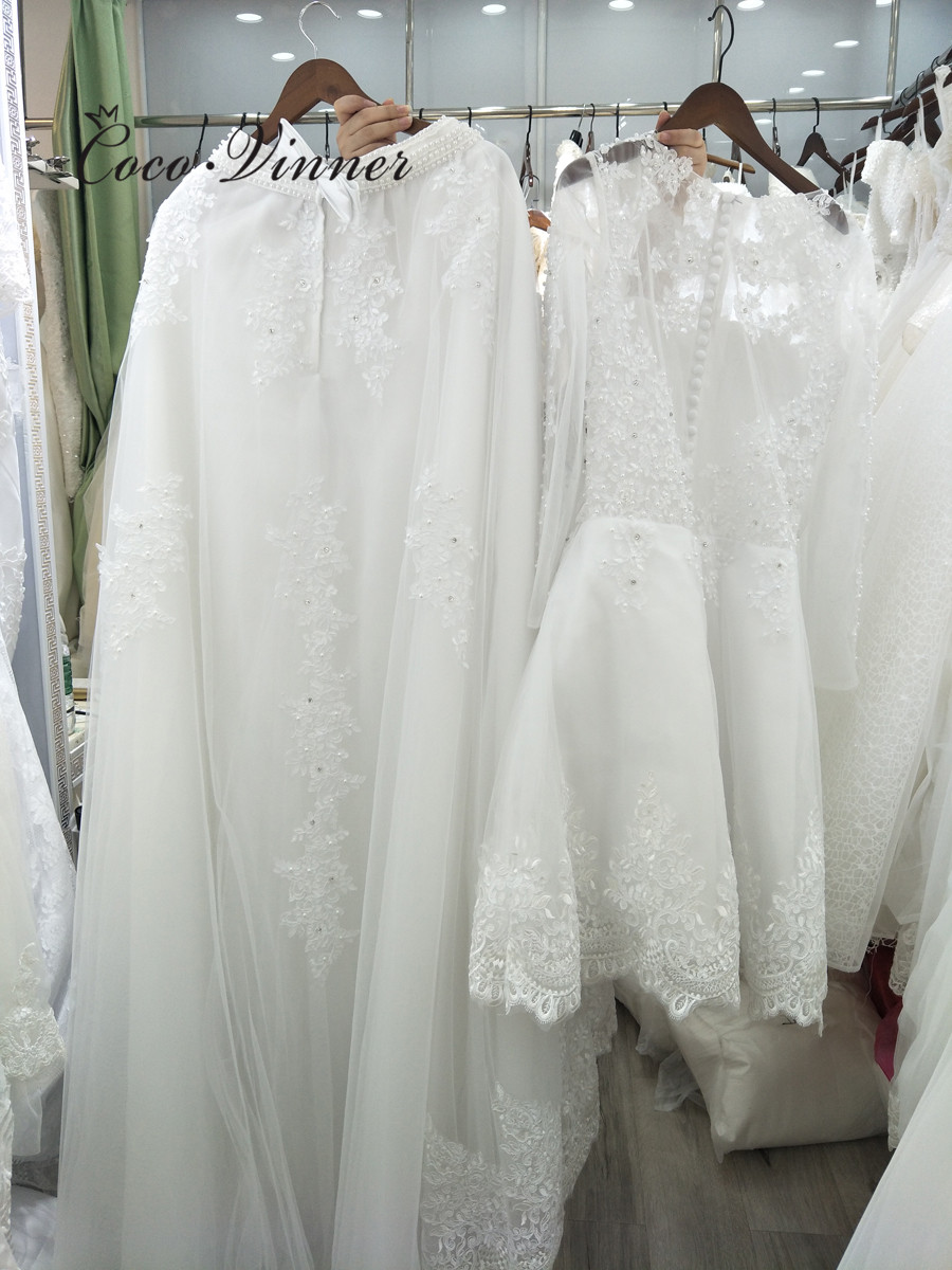 Image 2 - Beautiful Pearls beading 2 IN 1 A line Wedding Dress 2019 Detachable Skirt Long Sleeve Illusion Lace Wedding Dresses W0278 B-in Wedding Dresses from Weddings & Events