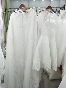 Image 2 - Beautiful Pearls beading 2 IN 1 A line Wedding Dress 2020 Detachable Skirt Long Sleeve Illusion Lace Wedding Dresses W0278 B