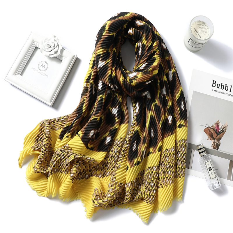2019 Winter Women Scarf Cotton Warm Fold Shawls Lady Wraps Bandana Female Foulard Crinkle Hijabs Headband New Style Echarpe