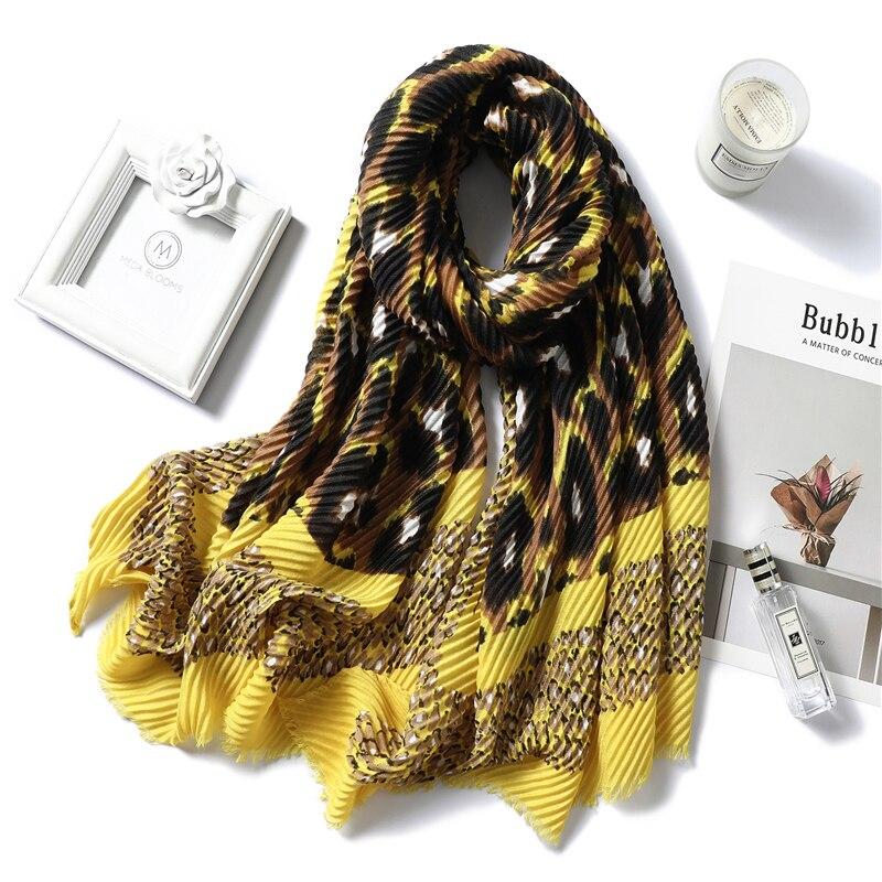 2020 Winter Women Scarf Cotton Warm Fold Shawls Lady Wraps Bandana Female Foulard Crinkle Hijabs Headband New Style Echarpe