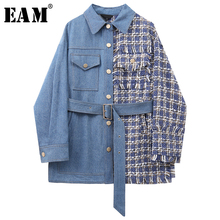 [EAM] Women Blue Plaid Tweed Big Size Blazer New Lapel Long Sleeve Loose Fit Jac