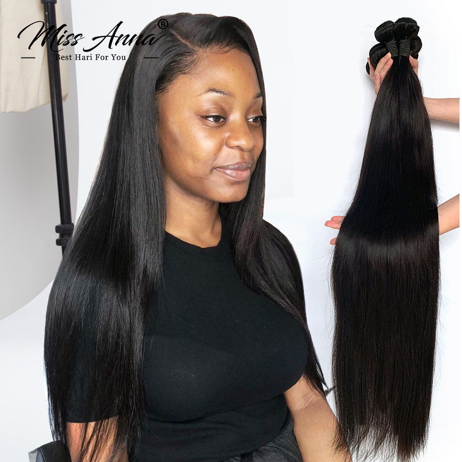 Missanna 8-34 36 38 40 Inch Brazilian Hair Weave Bundles Straight 100% Human Hair 3/4 Bundles Natural Color Remy Hair Extensions