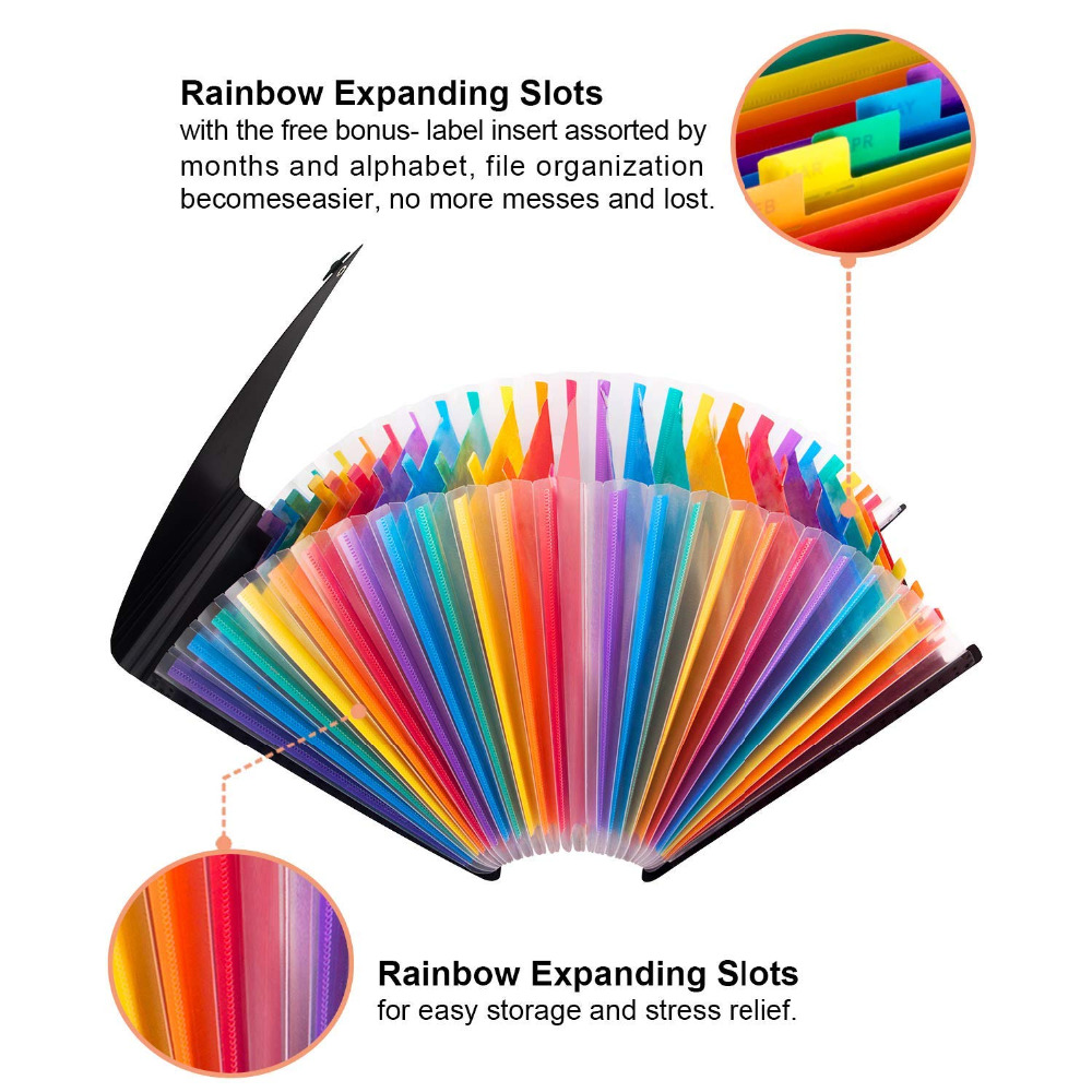 Expanding A4 for File Holder  Office Supplies Plastic Rainbows Organizer A4 Letter Size Portable Documents Holder Desk Storage 4