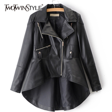 TWOTWINSTYLE 2020 Spring Woman Solid Color Long Sleeve Turn down Collar Zippers Irregular Hem Loose PU Coat Jacket Fashion New