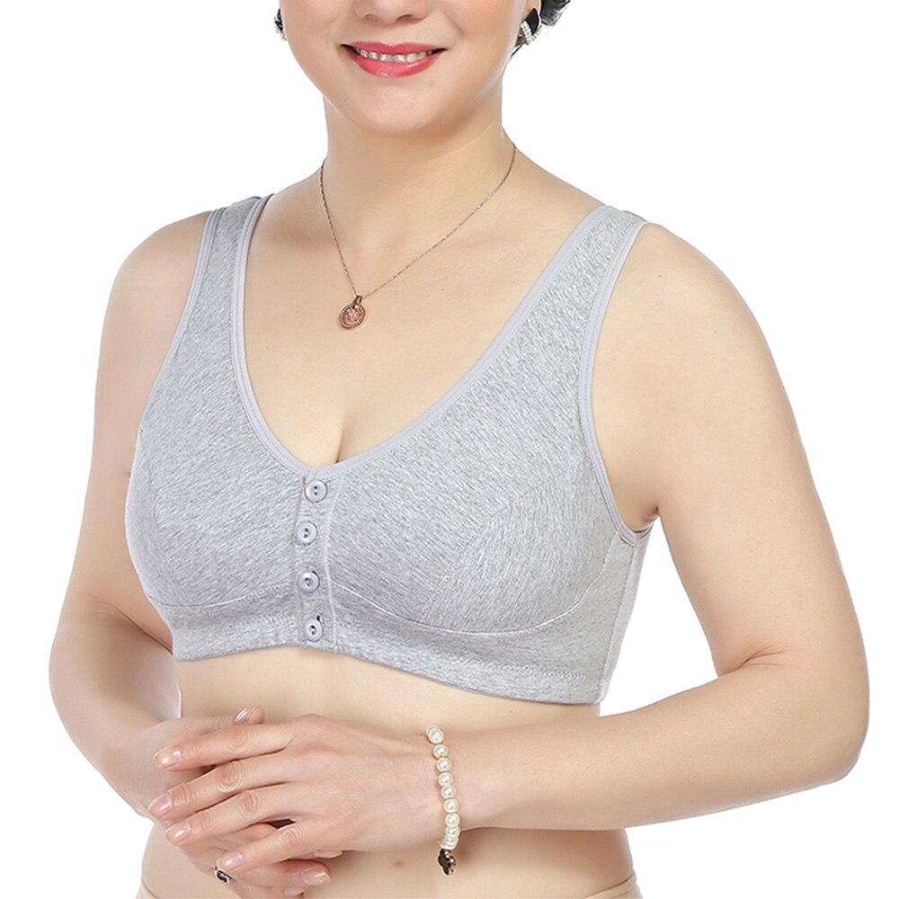 Womens Bra Front Closure Wireless Cotton Brassiere Sexy Underwear Vest Lingerie Bralette Tops A B C Cup 1
