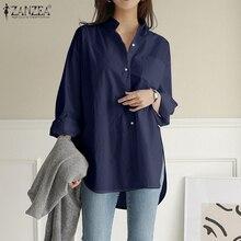 Women Shirts Top Buttons Tunic Feminine Blouse Long-Sleeve Blusas ZANZEA Casual And Turn-Down-Collar