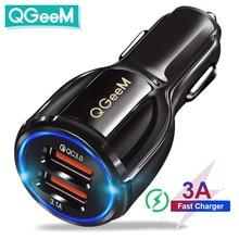 QGEEM 듀얼 USB QC 3.0 자동차 충전기 빠른 충전 3.0 전화 충전 자동차 빠른 충전기 2 포트 아이폰 xiaom에 대 한 USB 휴대용 충전기