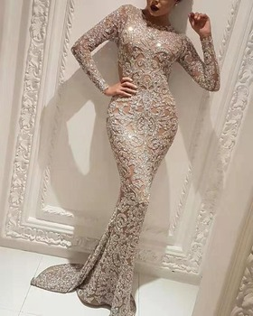 Sexy Long Sleeve Sequined Evening Dress Sequined Pattern Long Mermaid Gown Prom Dress Vestidos Elegantes