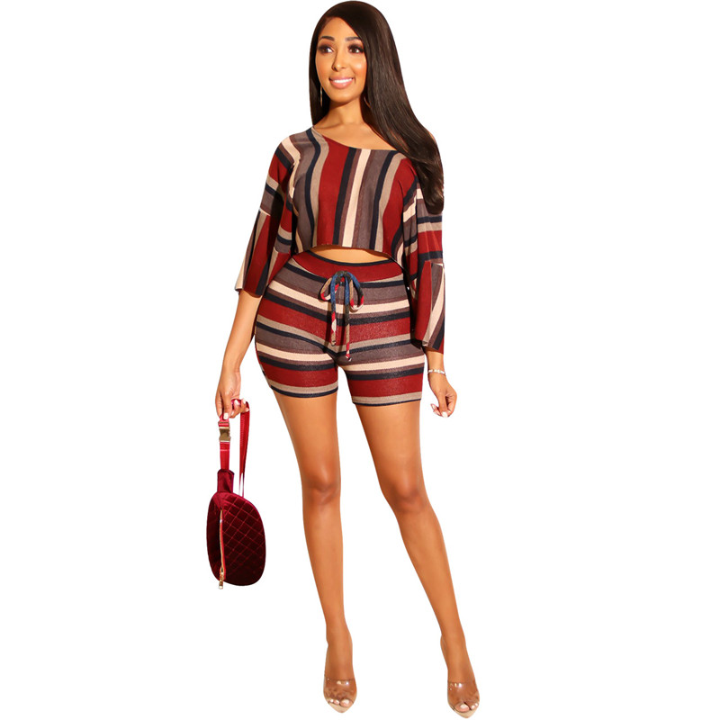 Hot Sale Summer Wide Sloping Collar Stripe Print Woman 2020 Crop Top Shorts Two Piece Set With Half Sleeve Casual Comfort Suits