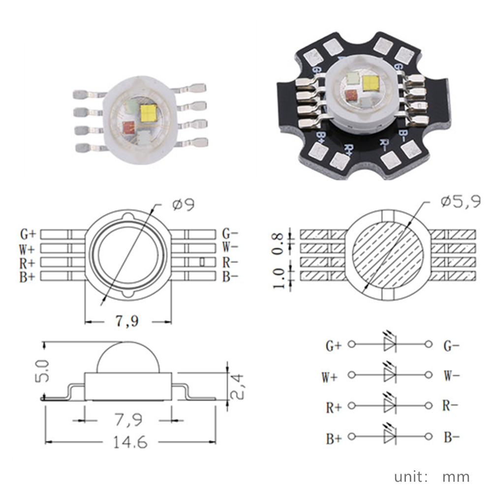Image 2 - 50pcs/lot 12W RGBW  high power led Chip 8 Pins for Stage Lighting-in Light Beads from Lights & Lighting