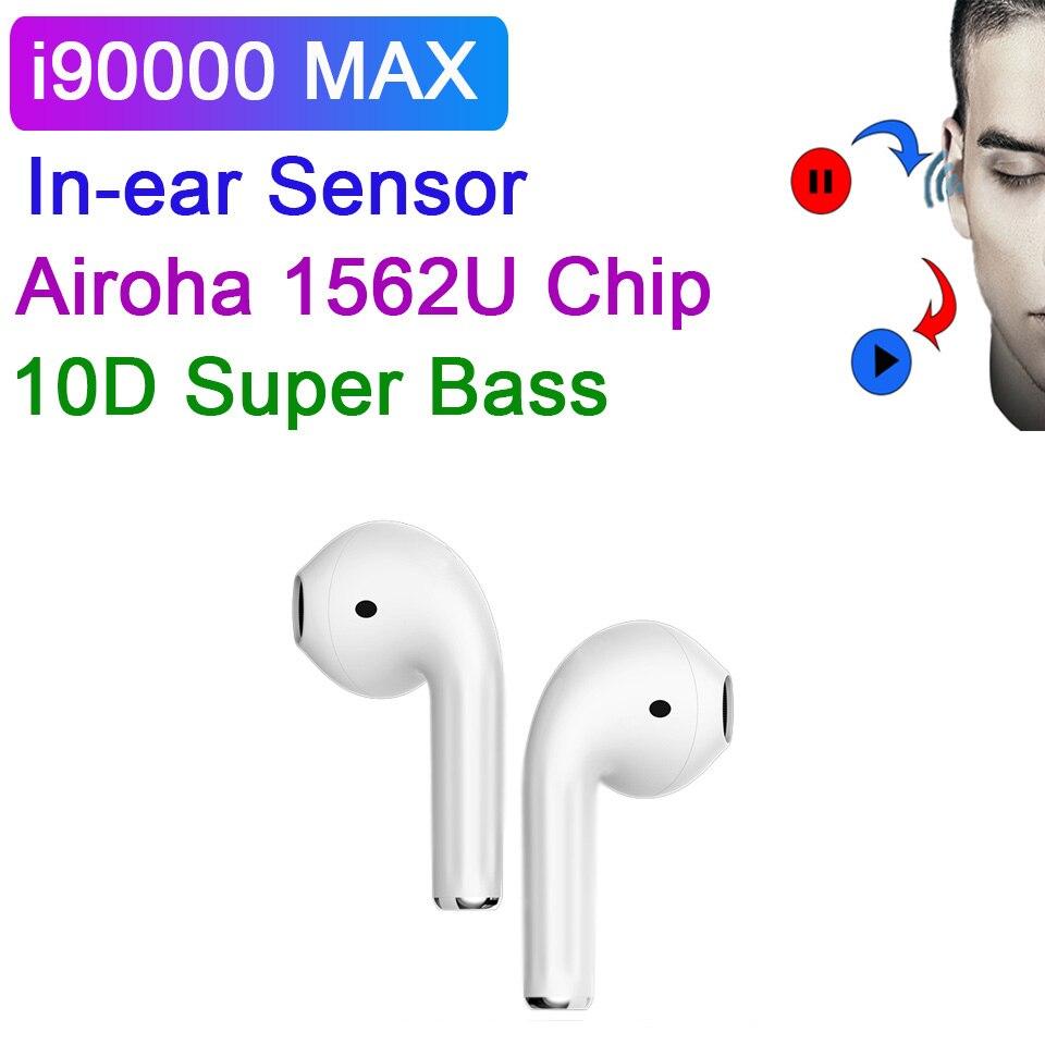 I90000 MAX наушники-вкладыши TWS с Беспроводной Bluetooth наушники Смарт Сенсор 1536U чип супер бас наушники с зарядный чехол Pk i9000 наушники-вкладыши tws с ...