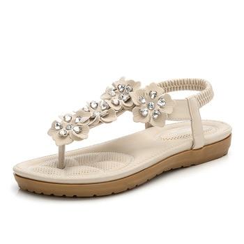 Bohemian Sandals Women Bohemian Crystal Female Shoes Flat Beach Shoes For Ladies Sandal Casual Women Sandals Summer X9X2062