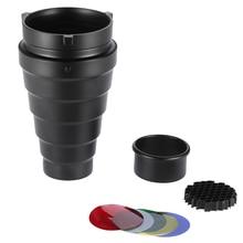 Metall Konische Snoot mit Honeycomb Grid 5 stücke Farbe Filter Kit für Bowens Berg Studio Strobe Monolight Fotografie Flash