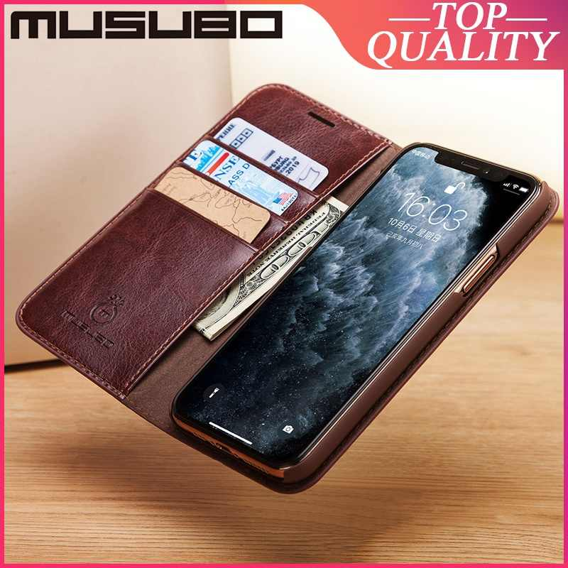 Musubo Genuine Leather Case untuk iPhone 11 Pro Max XS XR 7 Plus 8 6S PLUS 6 Mewah Kasus cover Kartu Slot Dompet Casing Funda Capa