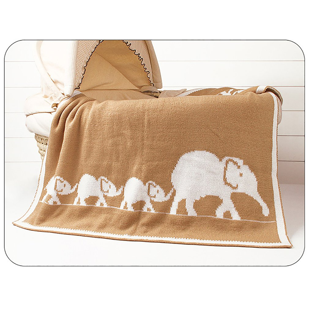 New Cartoon Elephant Printed Baby Blanket Knitted Newborn Swaddle Wrap Blankets Super Soft Toddler Infant Bedding Quilt Blankets