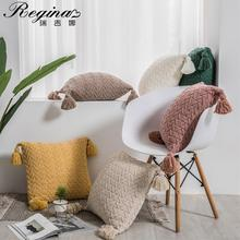REGINA Cute Tassels Chenille Pillow Case Nordic Style Knitted Pillow Cover Fall Home Decorative Pillowcase Sofa