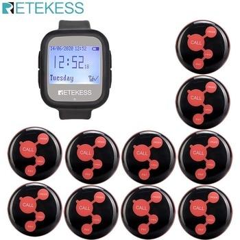 Retekess Wireless Calling System Waiter Call Pager TD106 Watch Receiver +10pcs Call Button restaurant equipment queue service
