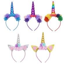 AmzBarley Girls Unicorn Hairbands Mermaid Snow white Flower headband Toddler girls Witch Halloween Cosplay party Accessories