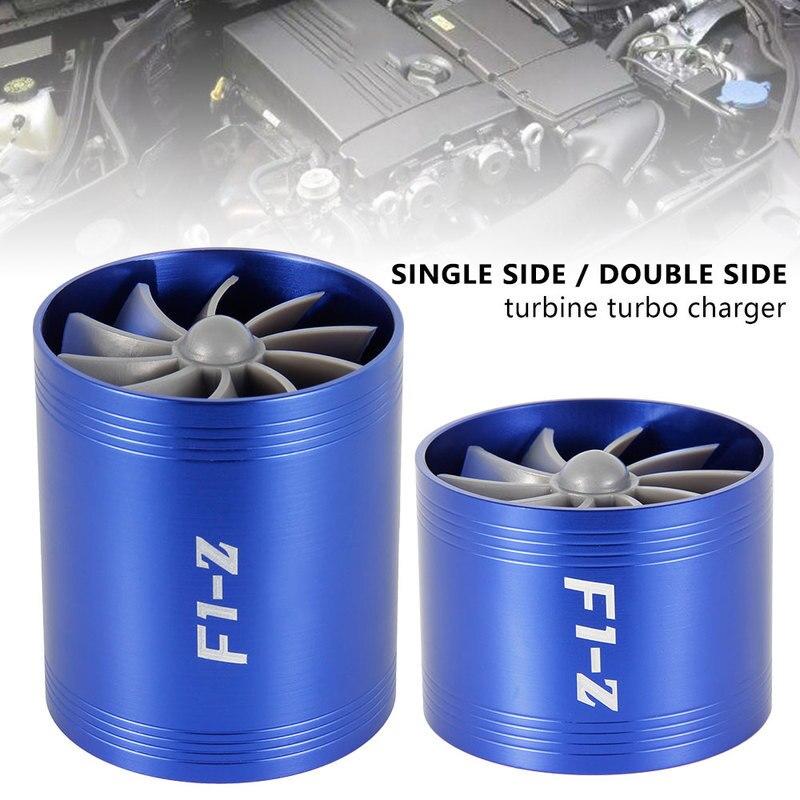 Araba türbin Supercharger F1-Z Turbo şarj cihazı tek çift hava filtresi emme Fan yakıt tasarrufu kiti oto yedek parça