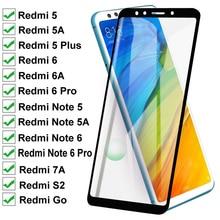 Закаленное стекло 11D для Xiaomi Redmi 5 Plus 5A Go 6 6A 7A S2, полное покрытие, Защита экрана для Redmi Note 5 5A 6 Pro, защитная пленка