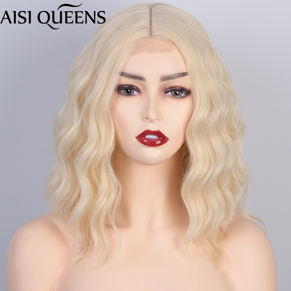 AISI QUEENS Short Synthetic Wave Wig Middle Part Hairline Bob Wigs for Women Blonde Red Dark Brown Daily Hair