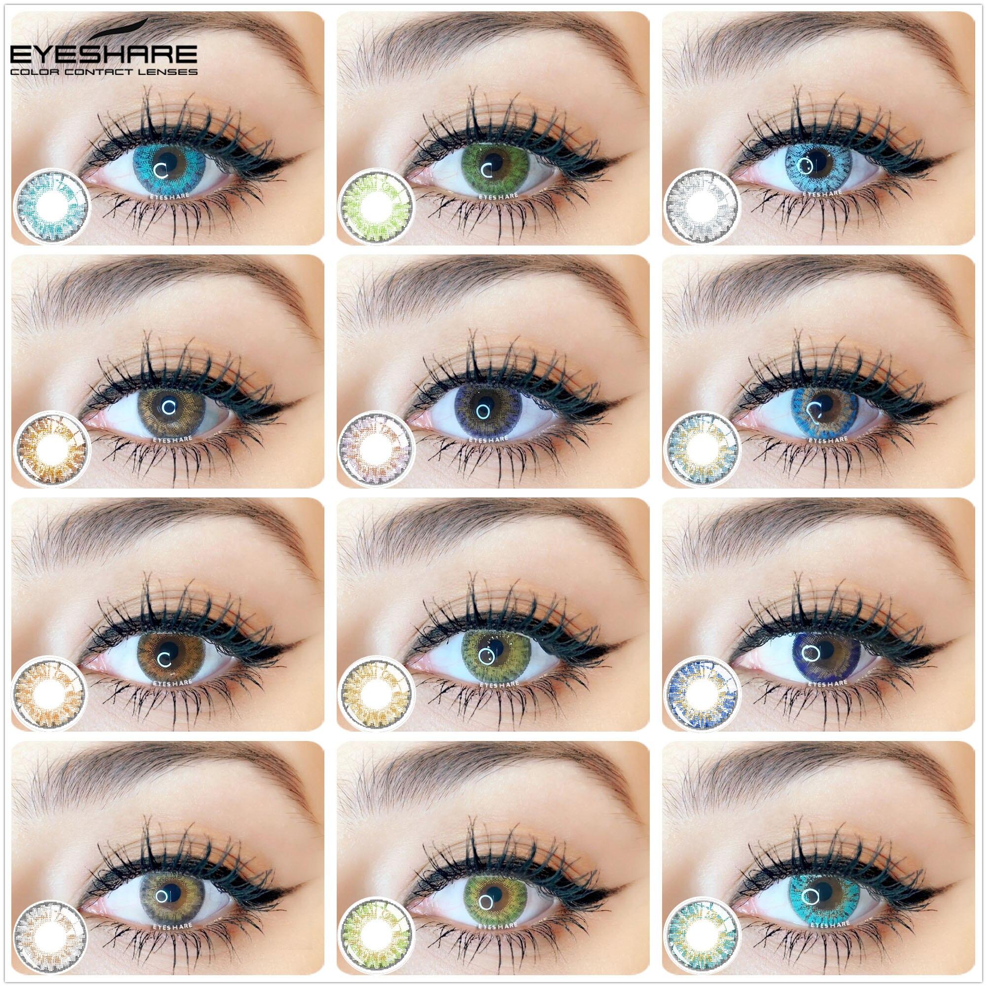 EYESHARE- 1 пара (3 оттенка, переходящие плавно от темного к светлому) Блестящий Цветной контактные линзы для глаз Косметические цветные глазные ...