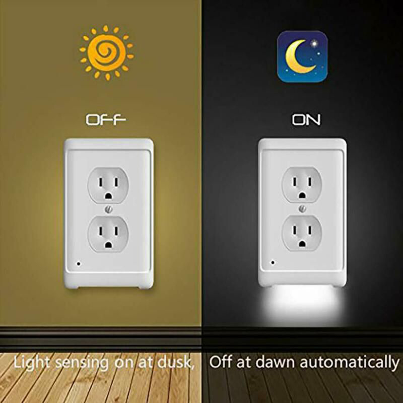 Outlet Wall Plate With LED Night Lights Ambient Light Sensor Outlet Cover Wall Plate For Hallway Bedroom Bathroom Kitchen