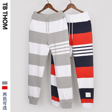 2021 TB THOM men's striped contrast color long patchwork sport jogging pants men full length trousers youth gray red