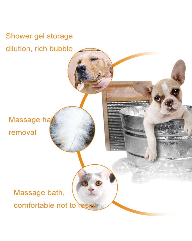 Multifunction Hair Remover Massage Silicone Dog Bath Grooming Brush Pet Cleaning Supplies With Shampoo For Puppy And Kitten4