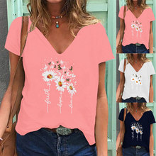 2021 Summer Hot Sale Women's Fashion Tops Pink Daisy Print V-Neck Short Sleeved T-Shirt Office Lady Blouse