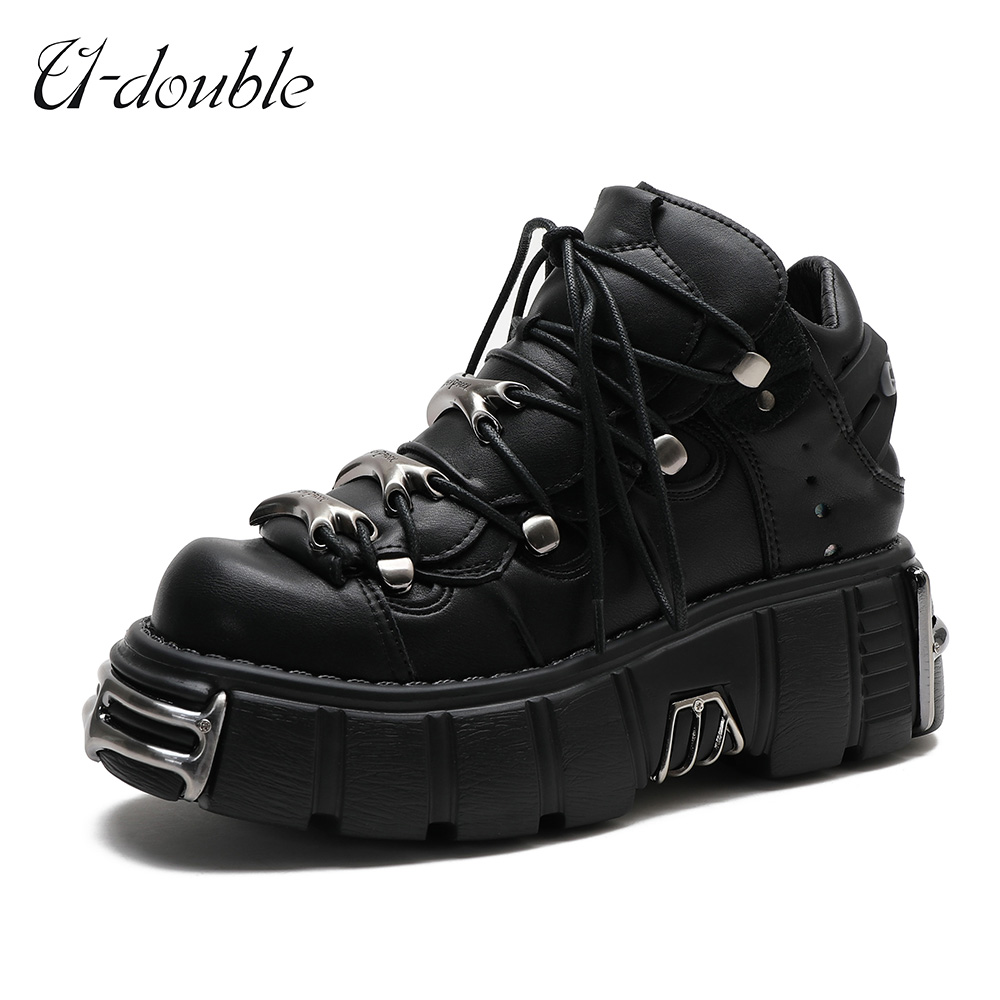 U-DOUBLE Brand Punk Style Women Shoes Lace-up heel height 6CM Platform Shoes Woman Gothic Ankle Boots Metal Decor Woman Sneakers