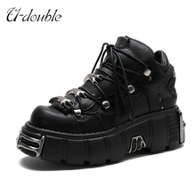 U-DOUBLE marka Punk Style kobiety buty sznurowane obcas wysokość 6CM platformowe buty kobieta gotyckie botki metalowa ozdoba damskie sneakersy