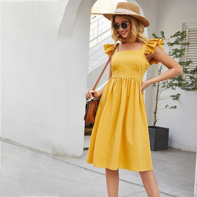 Sleeveless Dress Casual Mini Skirt Short Ruffled Sleeves 2
