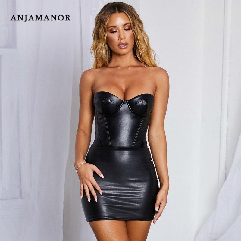 ANJAMANOR, черное облегающее Бандажное платье из искусственной кожи, Сексуальные вечерние платья для ночного клуба, осенне-зимнее женское мини-...