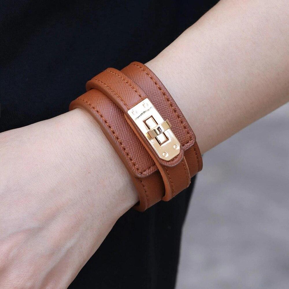 Kirykle-Bracelet en cuir, 6 couleurs, breloque multicouche pour femmes, Punk décontracté, accessoires de bijoux de fête, cadeau d'anniversaire de noël 6