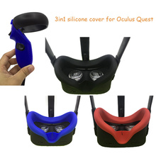 Almohadilla de silicona para cara de ojo, antisudor, para Oculus Quest VR, controlador de gafas, correa para nudillos, bloqueo de luz, almohadilla facial