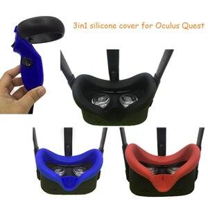Image 1 - Anti Zweet Siliconen Gezicht Pad Cover Voor Oculus Quest Vr Bril Controller Knuckle Band Anti Lekkage Licht blokkeren Gezicht Pad