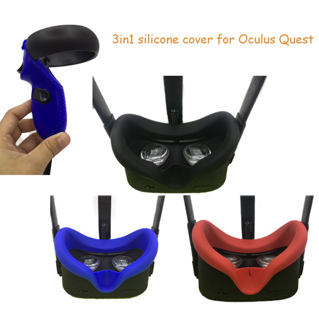 Anti Zweet Siliconen Gezicht Pad Cover Voor Oculus Quest Vr Bril Controller Knuckle Band Anti Lekkage Licht blokkeren Gezicht Pad