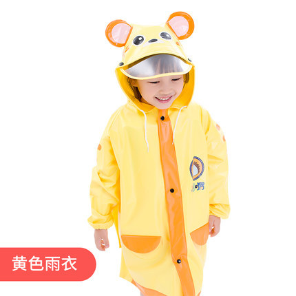 Boys and Girls Raincoat Kids Cute Cartoon Yellow Rain Coat Long Rain Poncho Kindergarten Waterproof School Capa De Chuva Gift 1
