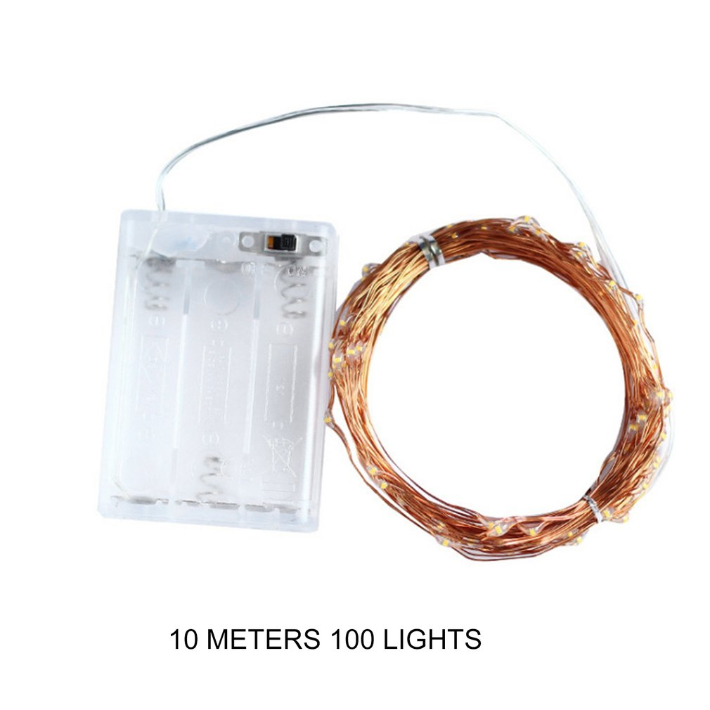 10m 100 Lamp Led Strings Copper Wire 3XAA Battery Operated Christmas Wedding Party Decoration LED String Fairy Lights