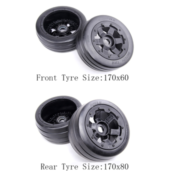 Front and Rear Slick Wheel Tyres Set for 1/5 Hpi Rofun Rovan Km Baja 5b SS