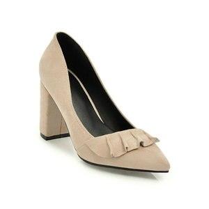 Image 4 - ZawsThia קיץ סתיו אביב נשים נעלי עקבים גבוהים בלוק קלאסי משרד משאבות צהוב מנטה ירוק נשי נעלי עקב נעלי עבודה