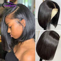 Pelucas de cabello humano malayo para mujeres negras, Bob corto de pelo de Cranberry liso, línea de pelo Natural prearrancado, 4x4 con cierre de encaje