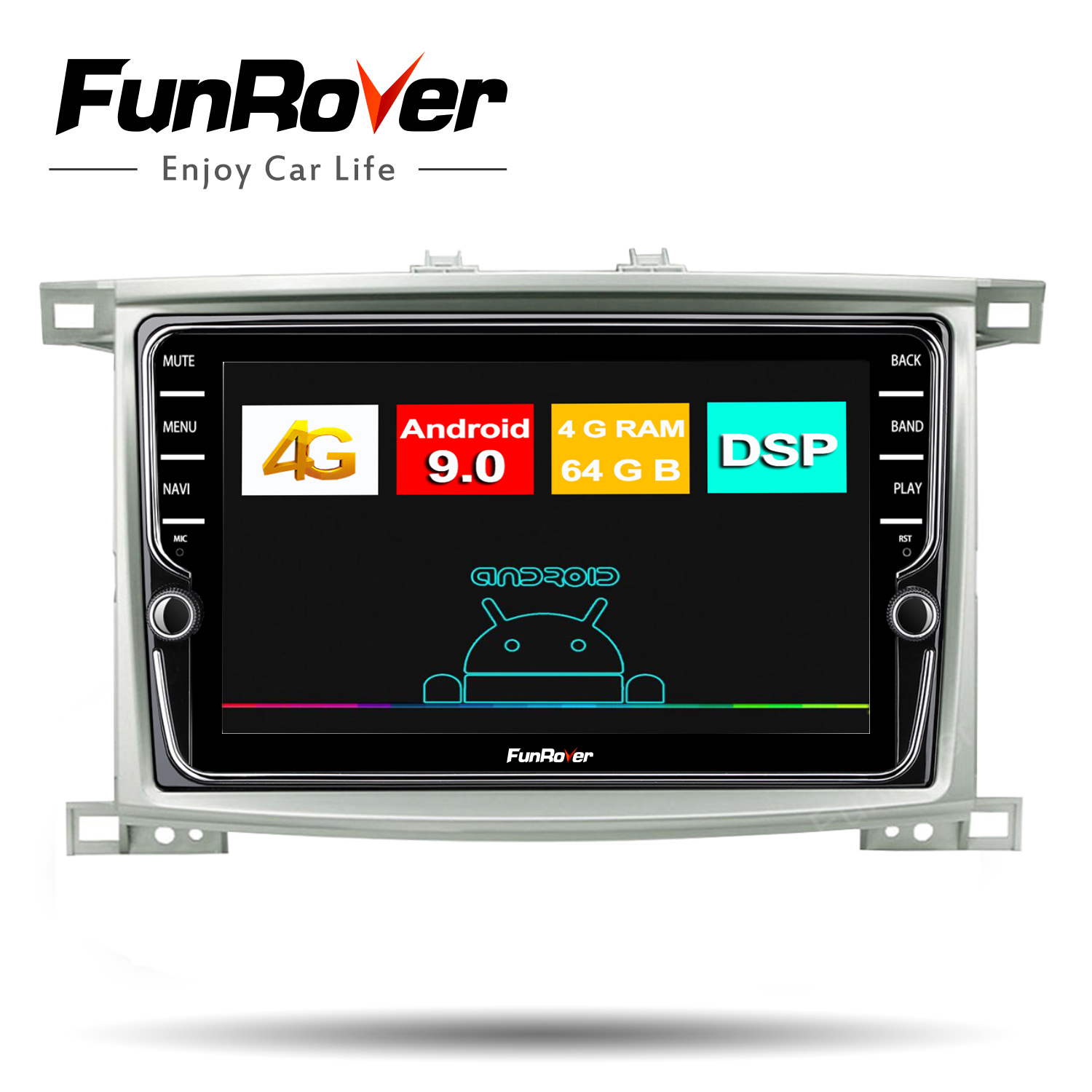 Funrover Android 9.0 Octa core Car DVD multimedia Player for <font><b>Toyota</b></font> <font><b>LC</b></font> <font><b>100</b></font> Land Cruiser <font><b>100</b></font> 1998 -2006 Radio GPS DSP 4G 64G LTE image