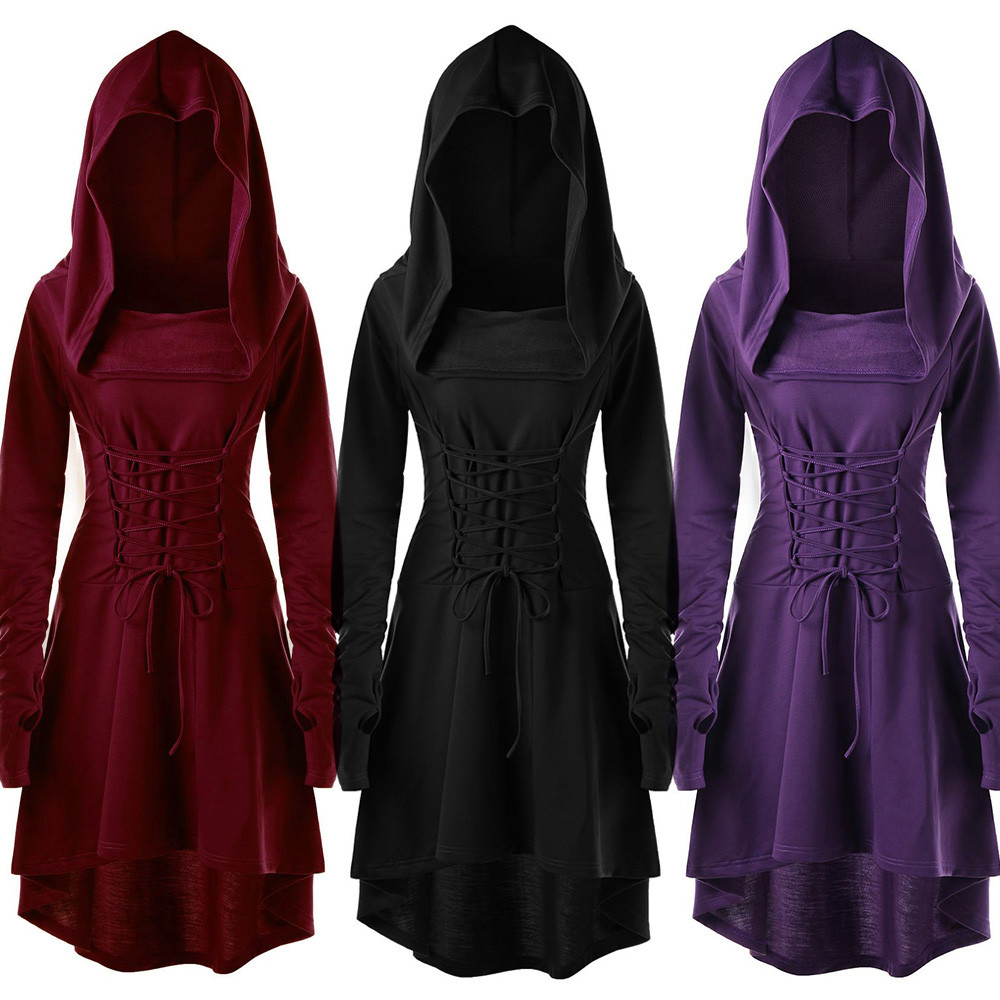 Vintage Dress Women Female Pullover High Low Bandage Long Dress Costumes Lace Up Hooded Dress Cloak Casual Solid clothes Vestido