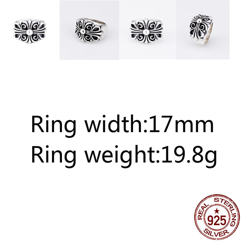 A68 925 sterling silver ring jewelry retro personality domineering classic cross shape punk fashion style couple shape gift hot