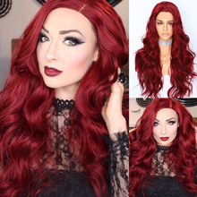 BeautyTown Red Natural Wave Hand Tied Cosplay Women Valentines Day present Wedding Party Daily Makeup Synthetic Lace Front Wigs