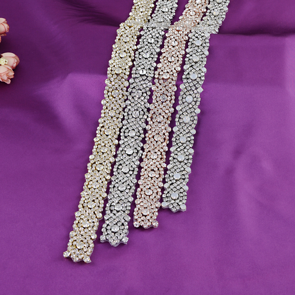 TOPQUEEN Handmade Silver/Gold /Rose Gold Bridal Crystal Trim Rhinestone Opal  Applique For Wedding Dress Belts Headpieces S28B