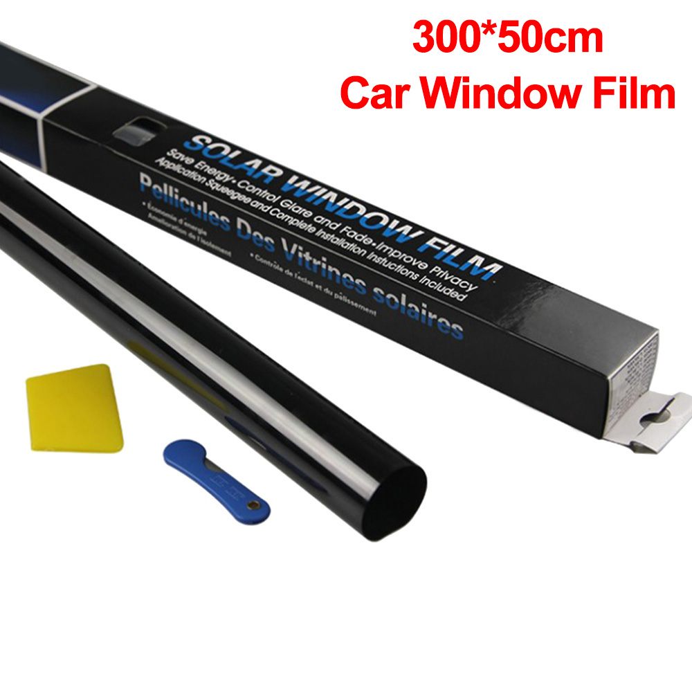 300x50cm VLT Car Home Window Glass Tint Tinting Film Roll With Scraper For Car Side Window Blocking Control Anti UV Window