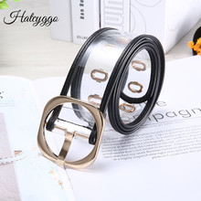 HATCYGGO Fashion Transparent Belt Female Gold Metal Square Buckle Adjustable PVC Wide Belt Women Chic Plastic Waist Belts